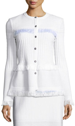 St. John Collection Illusion Grid Knit Jewel-Neck Jacket, White $1,295 thestylecure.com