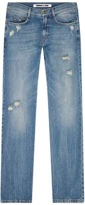 McQ Distressed Straight-Leg Cropped Jeans