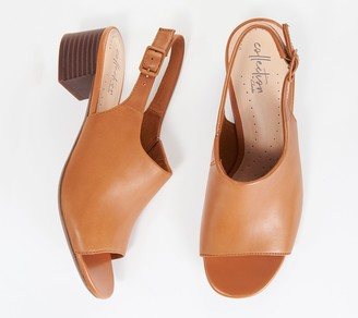 Clarks Leather Slingback Heeled Sandals- Elisa Kristie