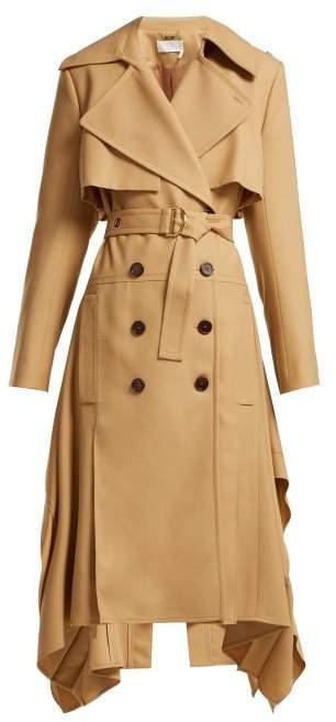 Pleated Hem Wool Gabardine Trench Coat - Womens - Light Brown