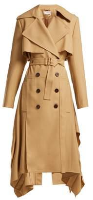Chloé Pleated Hem Wool Gabardine Trench Coat - Womens - Light Brown