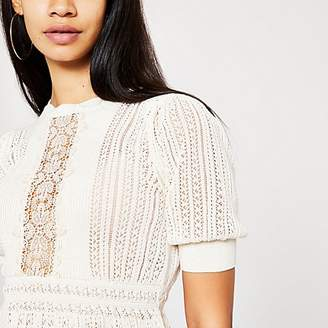 River Island Cream lace peplum knitted top