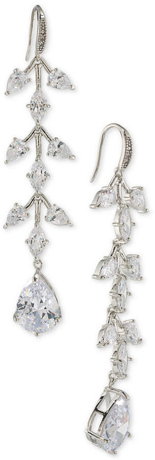 Carolee Carolee Silver-Tone Crystal Linear Drop Earrings