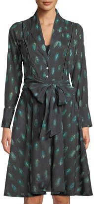 La Costa Del Algodon Laina Peacock Feather Button-Front Robe