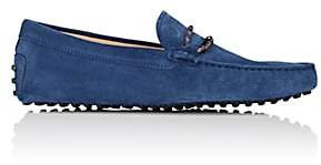 Tod's MEN'S BRAIDED-BIT SUEDE DRIVERS - BLUE SIZE 6 M