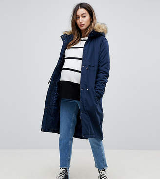 Mama Licious Mama.Licious Mamalicious Parka Coat With Faux Fur Trim Hood