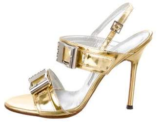 Manolo Blahnik Buckle-Accented Ankle Strap Sandals Gold Buckle-Accented Ankle Strap Sandals