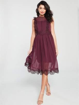 Ted Baker Porrla Frill Lace Midi Dress - Burgundy