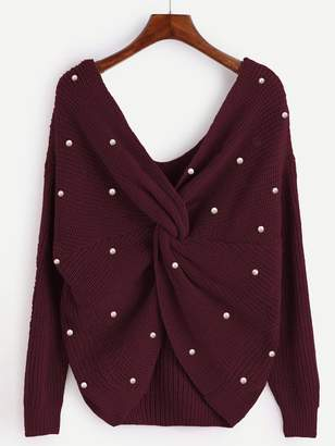 Shein Plus Twist Front Beaded Detail Sweater