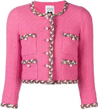 Edward Achour Paris contrast trim tweed jacket