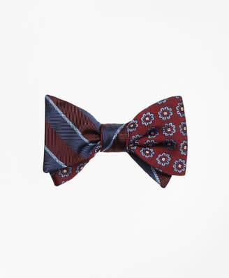 Brooks Brothers Sidewheeler Guard Stripe with Spaced Flower Reversible Bow Tie