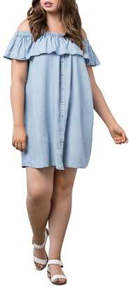 Bobeau B Collection by Curvy Rosie Chambray Off-the-Shoulder Dress