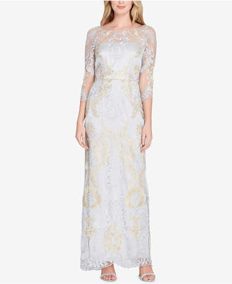 Tahari ASL Embroidered Gown