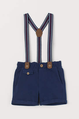 H&M Pique Shorts with Suspenders