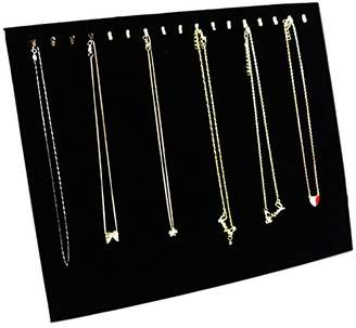 Ogrmar Black Velvet 17 Hook Necklace Jewelry Tray /Display Organizer/Pad /Showcase/ Display case (17 Hook Necklace Display)