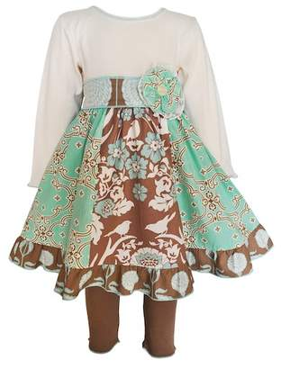 AnnLoren Cream Lace Gathered Dress with Sash & Leggings 2-Piece Set (Little Girls & Big Girls)