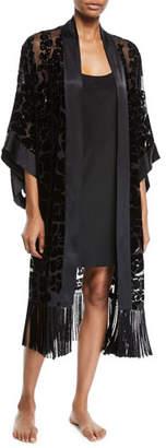 Josie Natori Poppy Burnout Fringe Long Kimono Robe