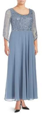 J Kara Plus Sheared Sequin Dress