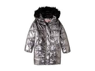 Urban Republic Kids Glo Oversize Metallic Foil Puffer Jacket w/ Colored Faux Fur (Little Kids/Big Kids)