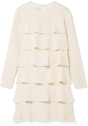 Valentino Tiered Ruffled Silk Crepe De Chine Mini Dress - Cream