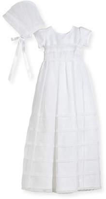 Isabel Garreton Delicate Organza Tiered Lace-Trim Christening Gown w/ Bonnet, White, Size 6-12 Months