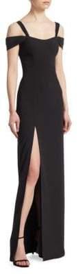 Halston Cold-Shoulder Slit Gown