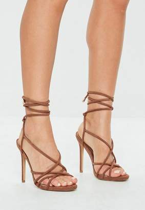Missguided Tan Tie Up Gladiator Sandals