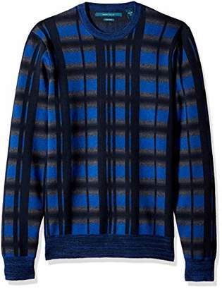 Perry Ellis Men's Multicolor Plaid Crewneck Sweater