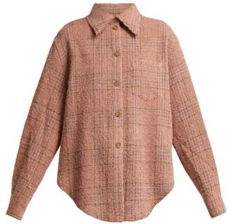 Acne Studios Checked Wool Blend Boucle Shirt - Womens - Light Pink