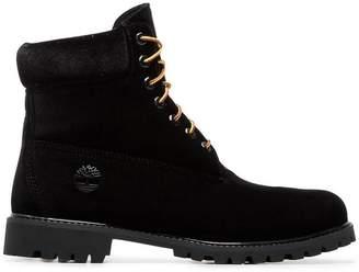 Off-White X Timberland black velvet boots