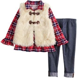 Little Lass Baby Girl Plaid Sequin Henley, Faux-Fur Vest & Jeggings Set