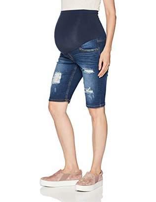 Motherhood Maternity Women's Maternity Indigo Blue Destructed Secret Fit Belly Bermuda Denim Short