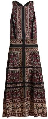 Sea Ezri Crochet Trimmed Printed Georgette Dress - Womens - Brown Multi