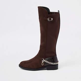 River Island Girls dark Red chain knee high boots