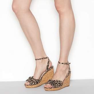 Faith Tan 'Dakota' High Wedge Heel Wide Fit Ankle Strap Sandals