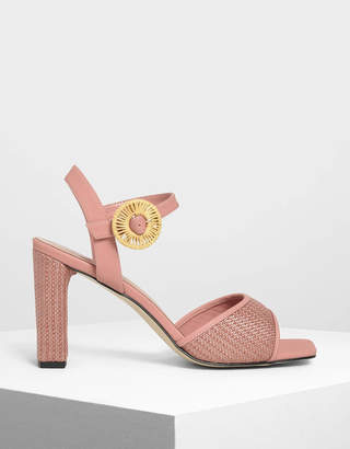 Charles & Keith Raffia Buckle Heeled Sandals