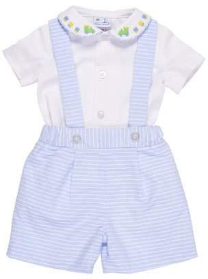 Florence Eiseman Peter Pan-Collar Train Shirt w/ Striped Pinpoint Shorts & Suspenders, Size 3-24 Months