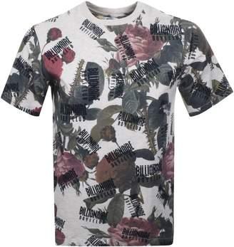 Floral Logo T Shirt Beige