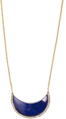 Lapis Noor Fares - Chandra Crescent Gold, And Diamond Necklace - Womens - Blue