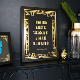 The Luxe Co Art Deco Black And Gold Valentines Print Wall Art