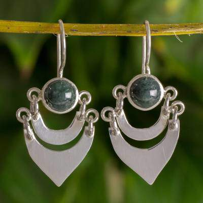 Two Moons Fair Trade Sterling Silver and Jade Hand Made Earrings