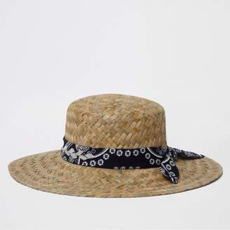 River Island Womens Light Brown chunky weave straw hat
