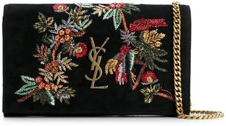 Saint Laurent floral embroidered shoulder bag