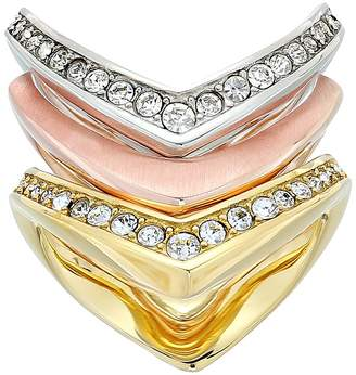 Michael Kors Tone and Crystal Stacked Ring Set Ring
