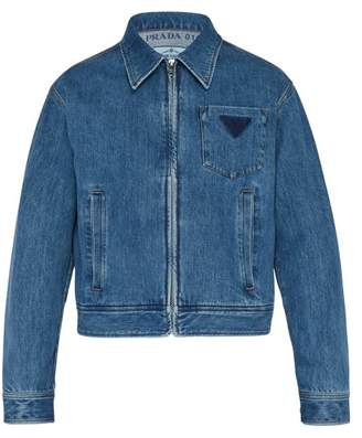 Prada Washed Logo Denim Jacket - Mens - Blue