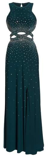 Morgan & Co. Embellished Cutout Stretch Knit Gown