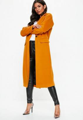 Missguided Orange Long Length Faux Wool Coat