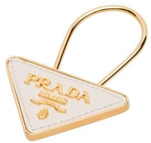 Prada Saffiano Leather And Metal Keychain