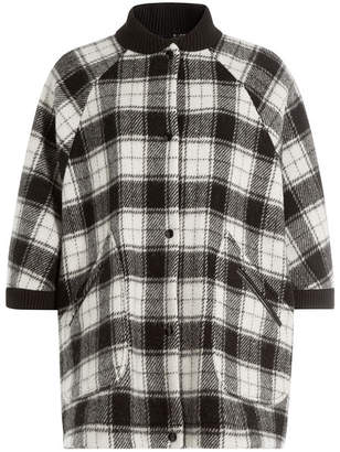 M Missoni Wool Plaid Short Sleeve Cape