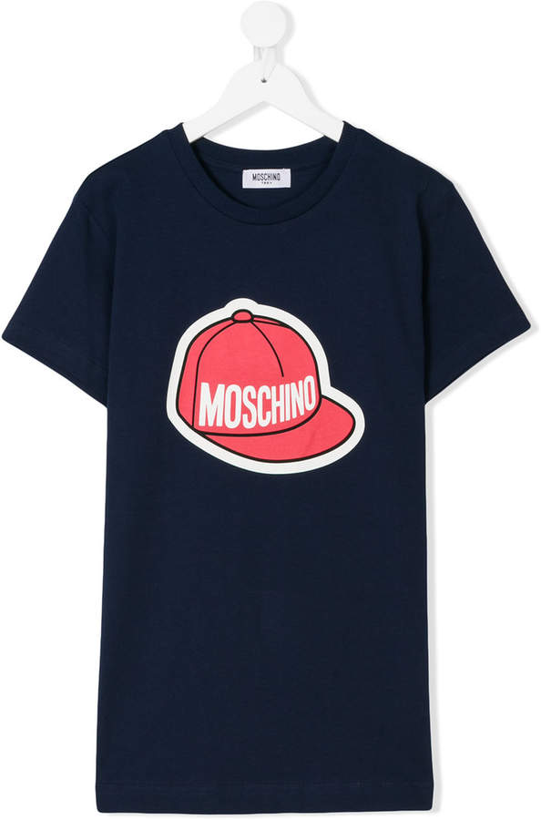 Moschino Kids logo hat print T-shirt